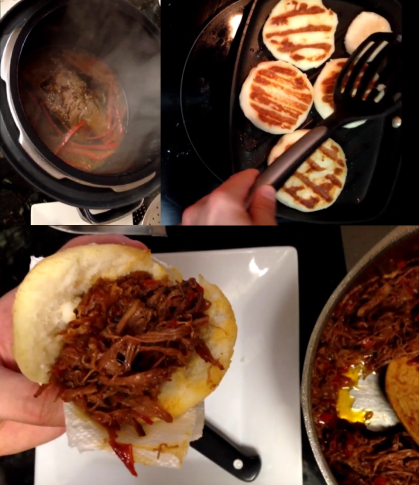 venezuelan arepas with carne mechada