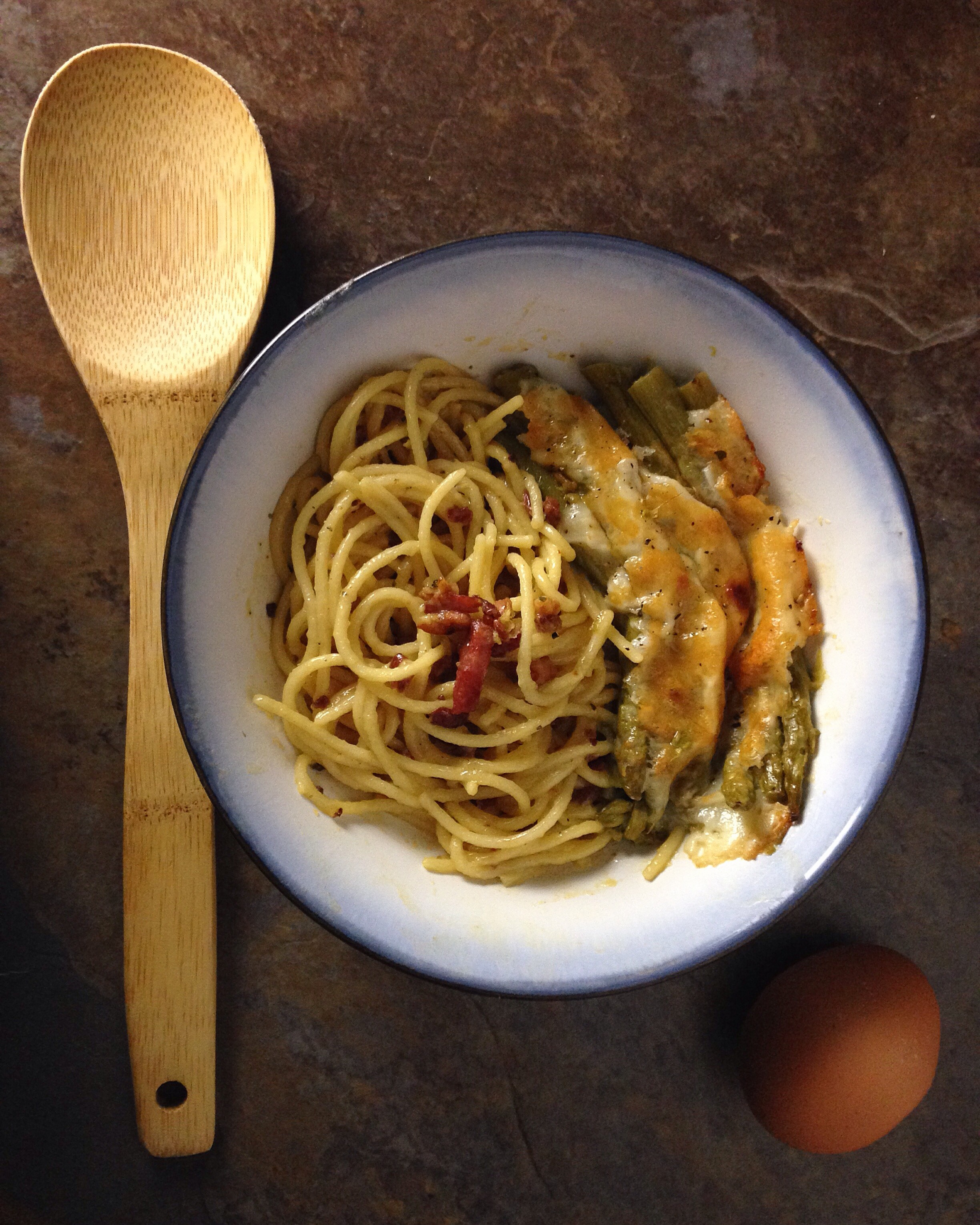 Spaghetti alla Carbonara and Asparagus with Cheese Casserole